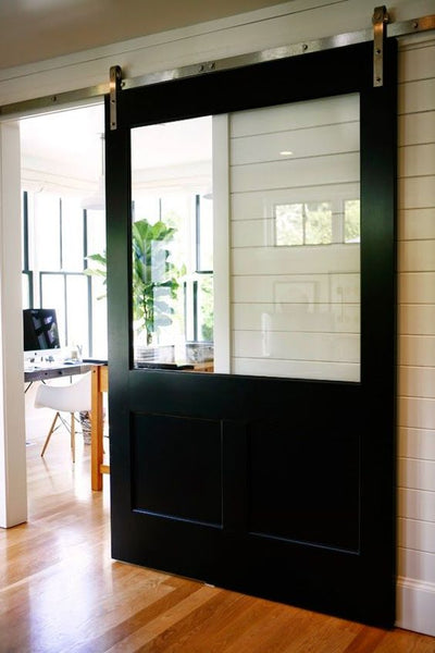matte black barn door modern farmhouse home