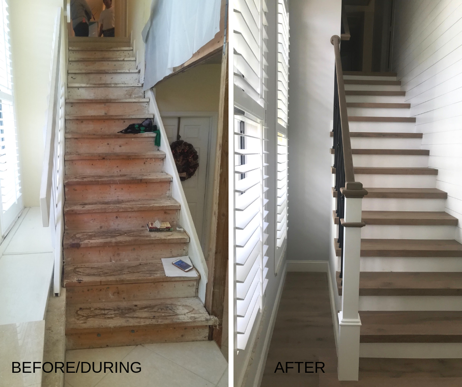 before and after of new staircase custom design work in boca raton