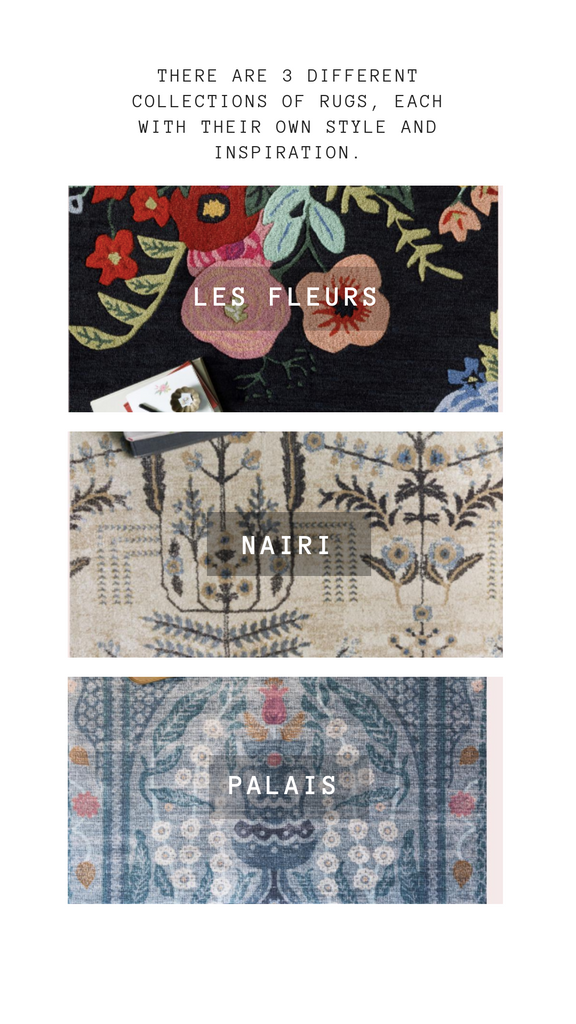 three collections of rugs from rifle paper co that can be purchased in our boca raton store front