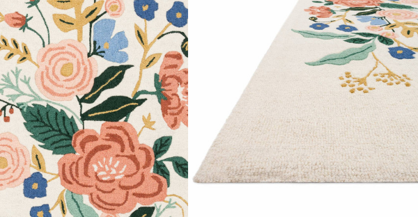 up close detail photo of floral vines ivory rug from rifle paper co and loloi rugs
