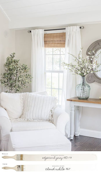 very white home decor and paint color farmhouse chic