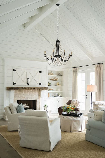 white paint in modern farmhouse living room