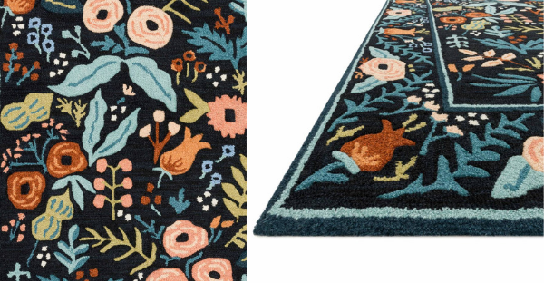 lourdes black up close detail photo rug from rifle paper co and loloi rugs