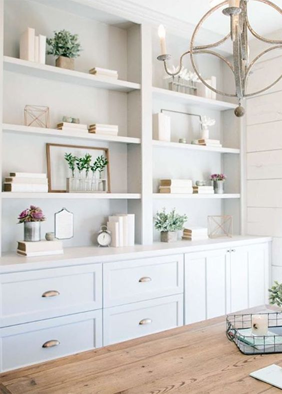 modern farmhouse decorating shelves