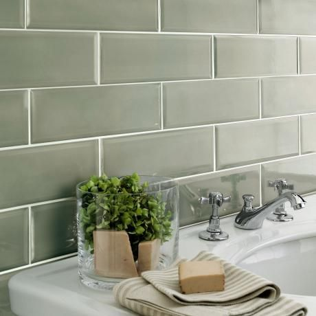 sage green bathroom tile