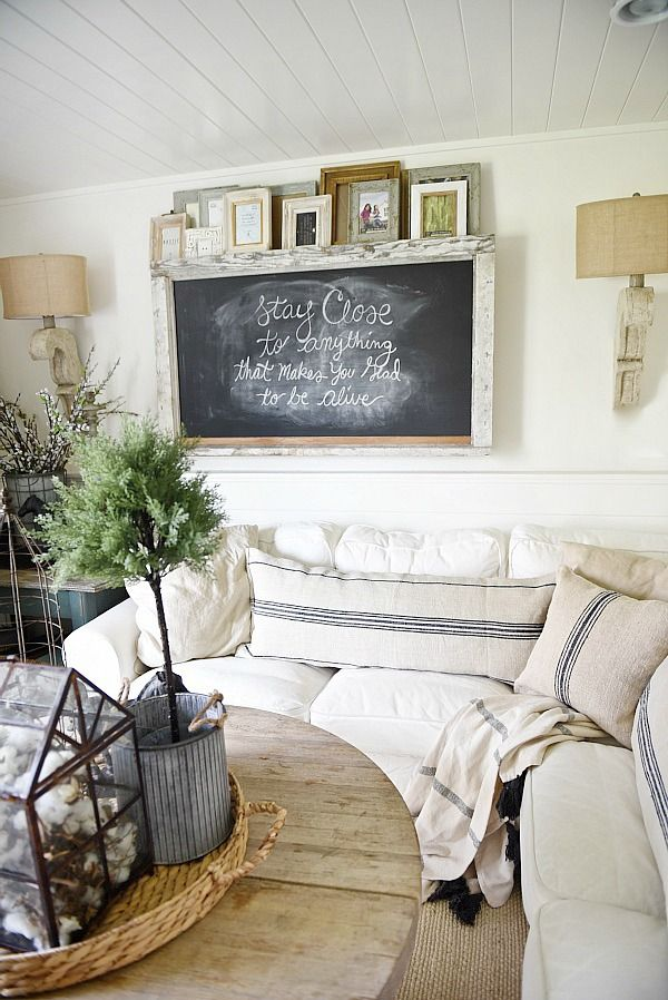 chalkboard paint or frames create industrial farmhouse look in your home