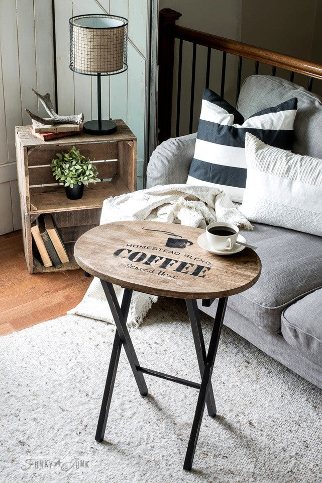 rustic wooden farmhouse table to achieve industrial farmhouse look