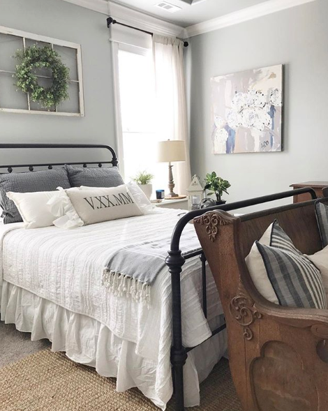 modern farmhouse gray paint in bedroom