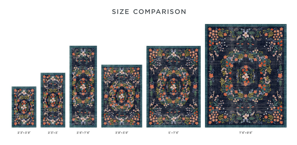 the different sizes of rugs that are available with rifle paper co rugs