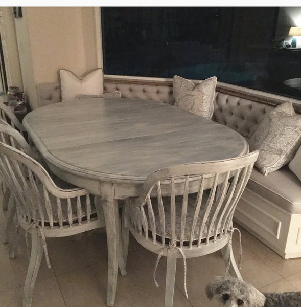custom painted dining room table and seating