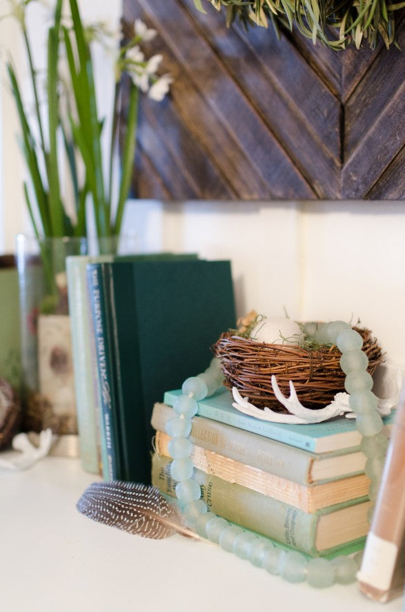 blue books for spring mantle display