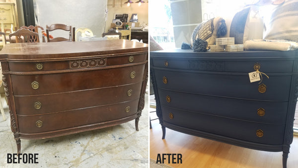 before and after painting vintage dresser