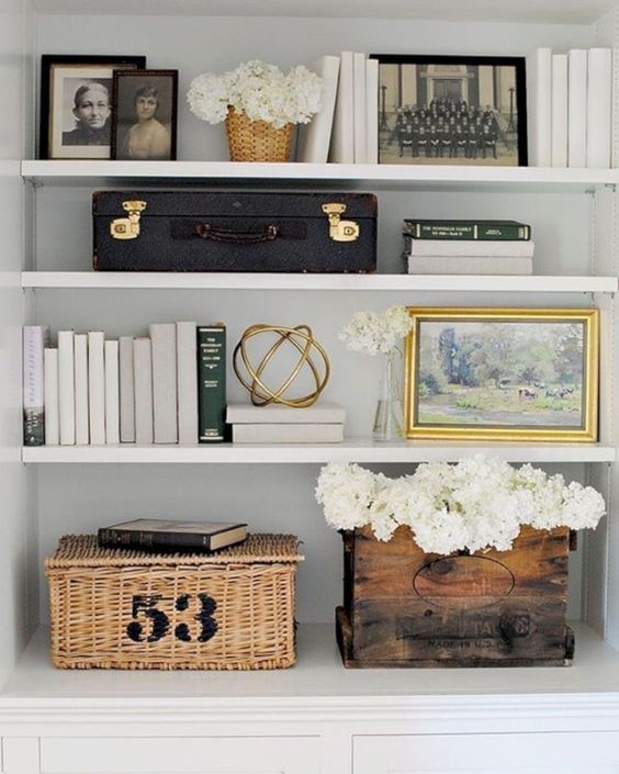 styling a shelf with family photos