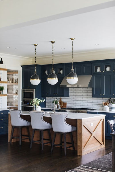 dark blue cabinets in kitchen makeover