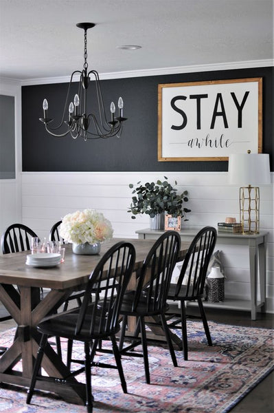 black accent wall in modern farmhouse is beautiful