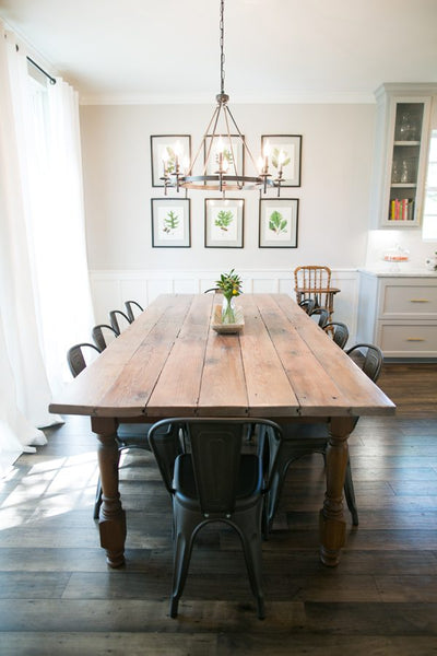 dining room table with rustic touches