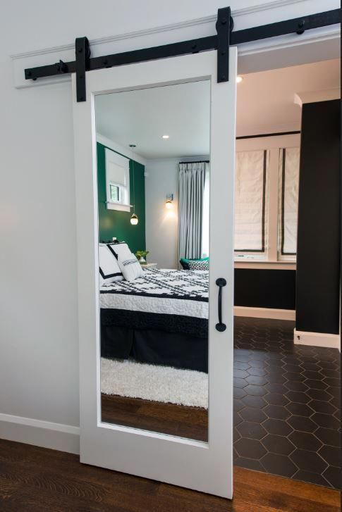 mirrored barn door for bedroom