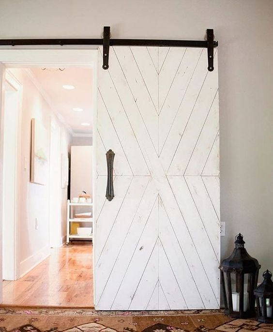 white chevron barn door