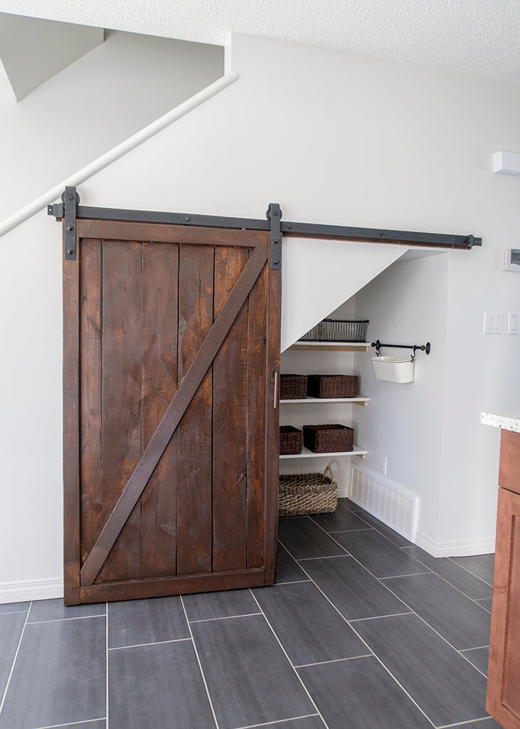 barn door nook under stairs