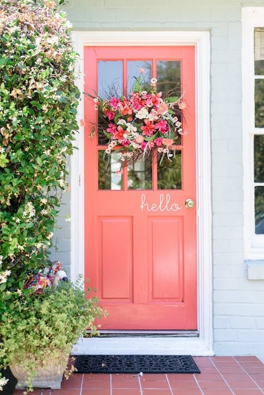coral front door on home patone color of the year