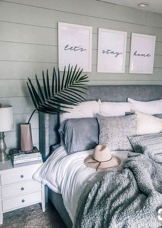 palm frond as decor in bedroom