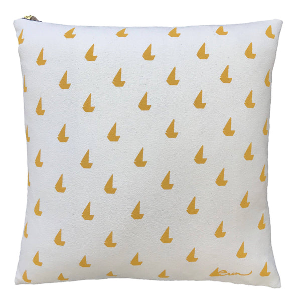 Yellow sailboat pillow