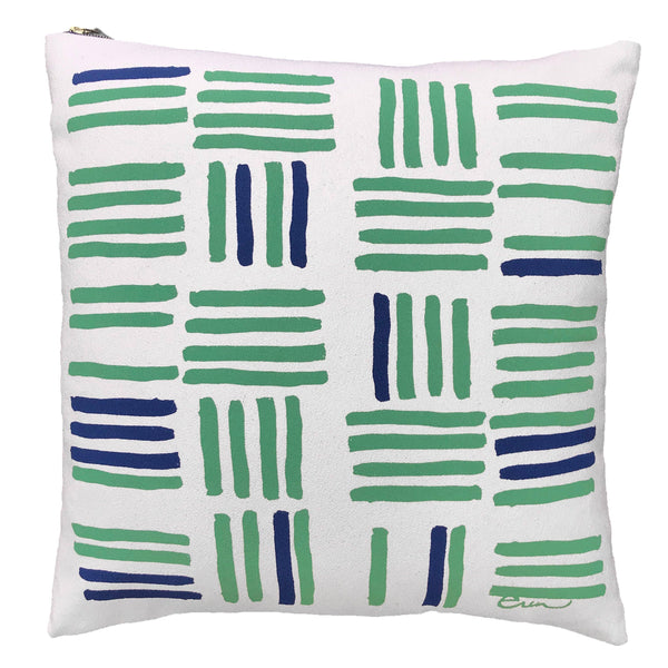 Navy and green slash pillow