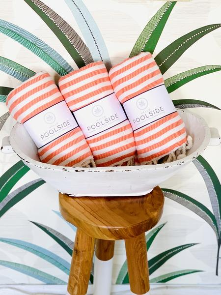 Cotton turkish towel Orange stripe