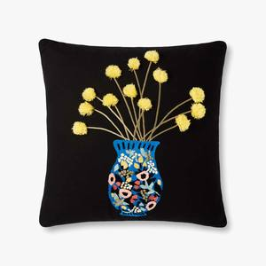 Black blue vase pillow