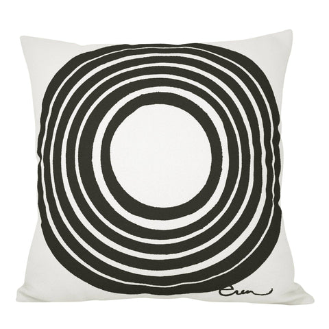 Black circle hand printed pillow