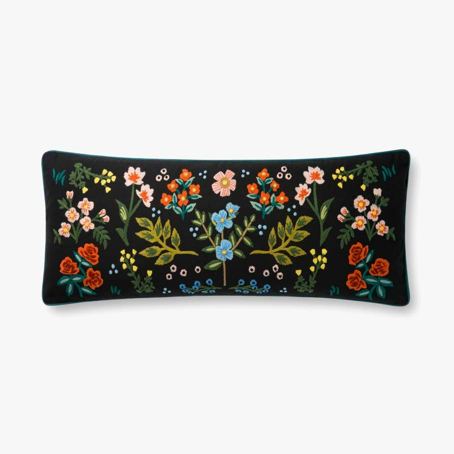 Black needlepoint oversized lumbar pillow