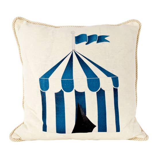 Blue cabana indoor/outdoor pillow