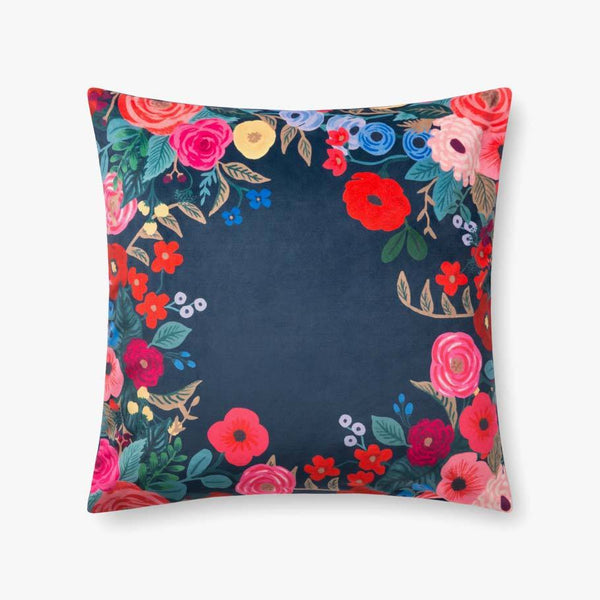 Blue velvet floral pillow