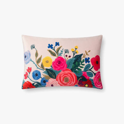 Blush pink floral lumbar pillow