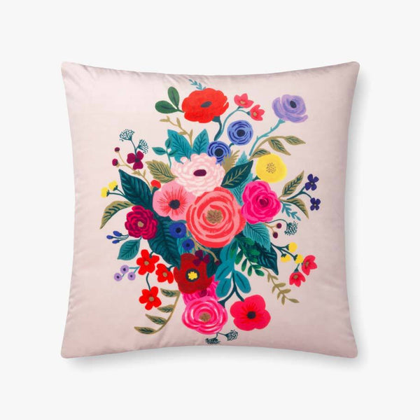 Blush pink floral pillow