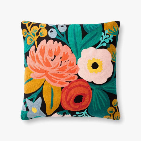 Bold Floral Coral and Black pillow