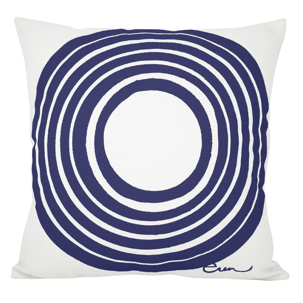 Navy circle pillow