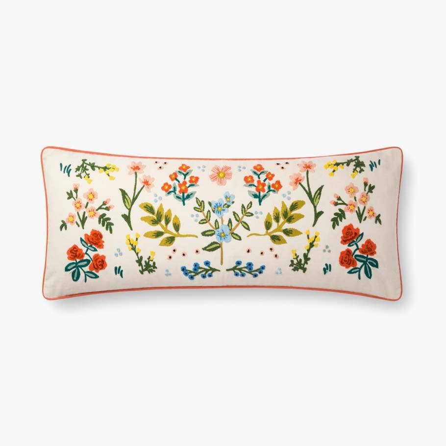 Oversized floral needlepoint pillow