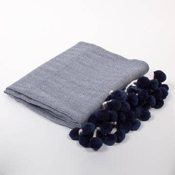 Navy light weight herringbone throw
