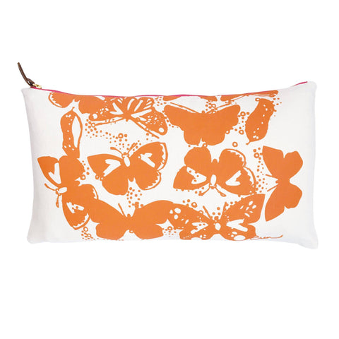 Orange butterfly lumbar pillow