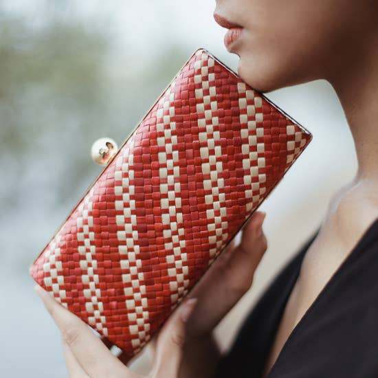 Hand woven red clutch