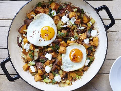 goats cheese, sweet potato hash