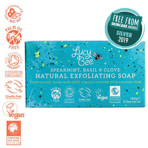 Lucy Bee Exfoliating Natural Soap Bar with Award Logo