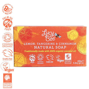 Lemon Tangerine and Cinnamon Natural Soap in Packaging
