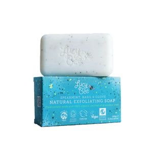 Spearmint Exfoliating Natural Soap Bar and Wrapper Image