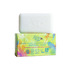 Ylang Ylang Jasmine and Cedarwood Natural Soap Bar With Wrapper Image