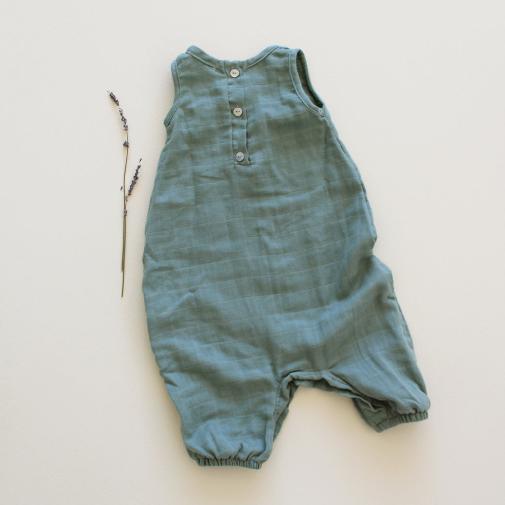 Fin and Vince - Gauze Tank Romper (Moss)