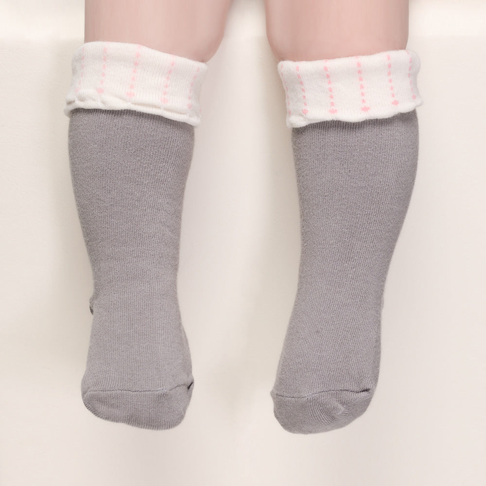 Folding Love Knee Socks - Grey