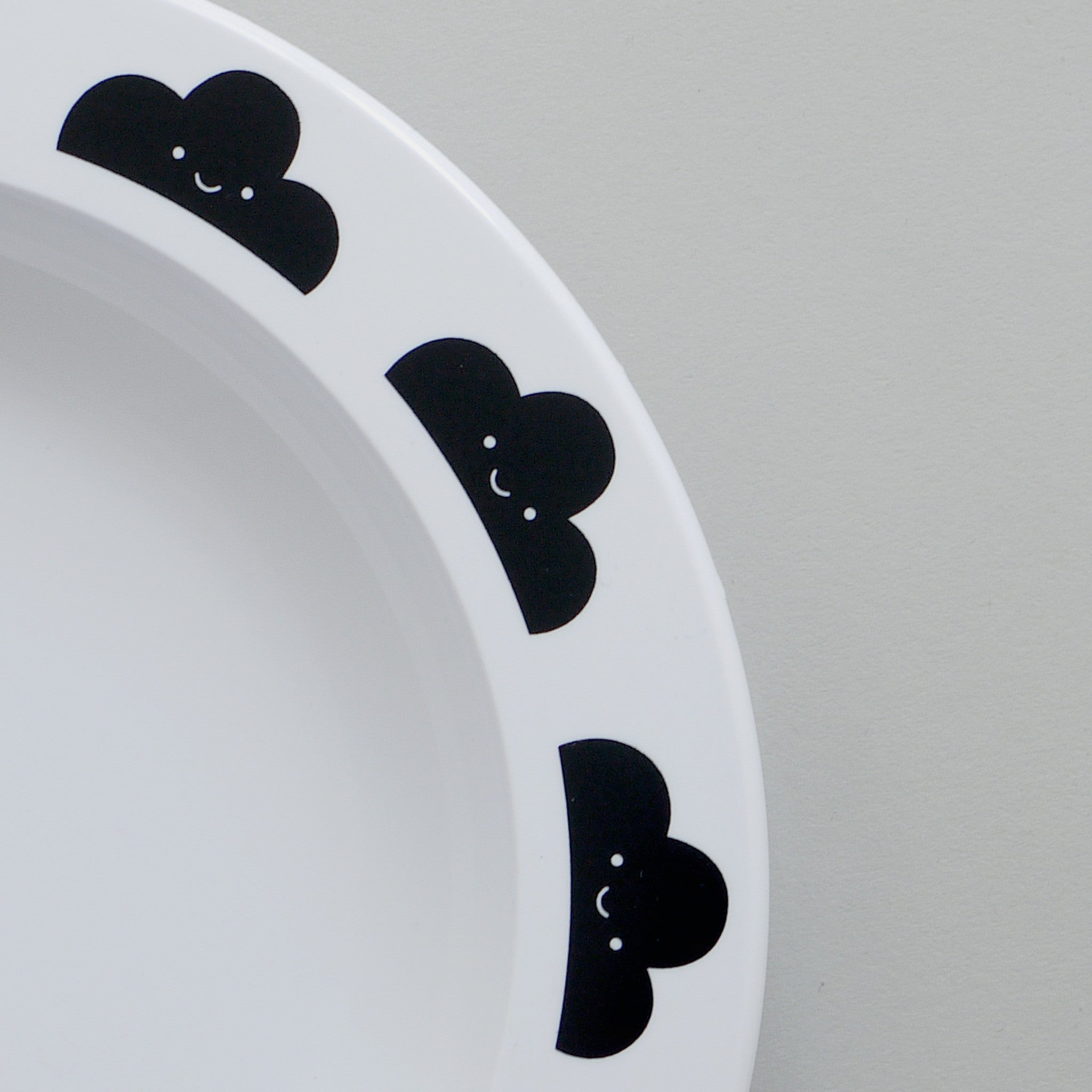 Buddy & Bear - Happy Clouds Plate (Black)
