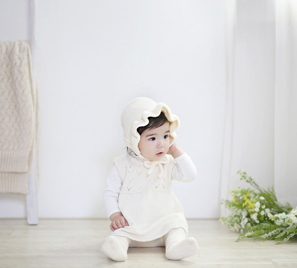 Florie Cream Knit Bonnet